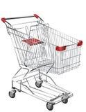 Het winkelen van het metaal karretje Stock Foto