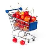Het winkelen van het metaal karretje Stock Foto's