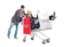 Het winkelen van het paar royalty-vrije stock afbeeldingen