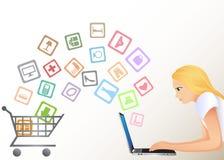Het winkelen van Internet Stock Foto