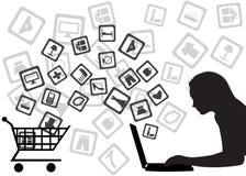 Het winkelen van Internet Stock Foto's