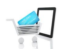 Het winkelen van Internet concept Boodschappenwagentje en tablet Royalty-vrije Stock Fotografie