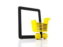 Het winkelen van Internet concept Boodschappenwagentje en tablet Royalty-vrije Stock Afbeeldingen