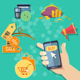 Het winkelen van Internet van het elektronische handelconcept het mobiele winkelen Royalty-vrije Stock Afbeeldingen