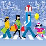 Het winkelen van Kerstmis royalty-vrije illustratie