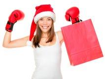 Het winkelen van Kerstmis het in dozen doen dag Stock Foto's
