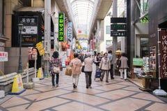 Het winkelen van Sanjodori straat in Nara, Japan royalty-vrije stock foto