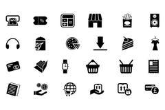 Het winkelen Vectorpictogrammen 5 Royalty-vrije Stock Afbeeldingen