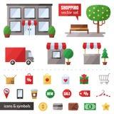 Het winkelen vectorreeks Geplaatste pictogrammen Modern vlak ontwerp Royalty-vrije Stock Foto's