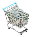 Het winkelen vervoer met geïsoleerde dollarbankbiljetten Royalty-vrije Stock Fotografie
