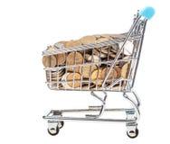 Het winkelen vervoer met Russische geïsoleerde muntstukken Stock Foto's