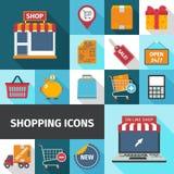 Het winkelen vierkante geplaatste pictogrammen Stock Afbeelding