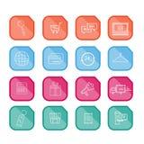 Het winkelen vlakke geplaatste pictogrammen De vlakke geplaatste pictogrammen van shopping spree In een geplaatste opslag vlakke  stock illustratie