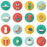 Het winkelen Vlakke Pictogrammen Royalty-vrije Stock Afbeelding