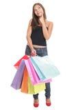Het winkelen vrouw het denken Stock Foto