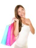 Het winkelen vrouw het denken royalty-vrije stock afbeelding
