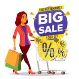 Het winkelen Vrouwenvector Kruidenierswinkelkar Grote verkoop Kruidenierswinkels in Winkel, Supermarkt Holdingsdocument Pakketten royalty-vrije illustratie