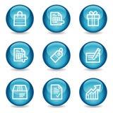 Het winkelen Webpictogrammen, blauwe glanzende gebiedreeks Stock Afbeelding