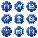 Het winkelen Webpictogrammen, de blauwe reeks van cirkelknopen Stock Afbeeldingen
