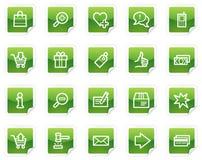 Het winkelen Webpictogrammen, groene stickerreeks Royalty-vrije Stock Foto's