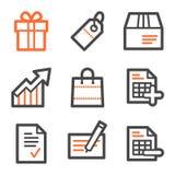 Het winkelen Webpictogrammen, oranje en grijze contourreeksen Royalty-vrije Stock Fotografie