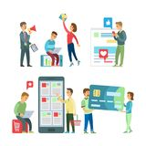 Het winkelen Website en App, Ontwikkelaars en Klanten vector illustratie
