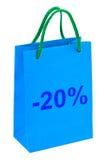 Het winkelen zak 20 percenten royalty-vrije stock foto's