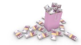 Het winkelen zak met 500 euro rekeningen op wit wordt gevuld dat Stock Afbeeldingen