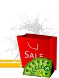 Het winkelen zak met geld Stock Foto