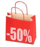 Het winkelen zak met teken -50% Royalty-vrije Stock Foto
