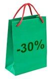 Het winkelen zak 30 percenten stock foto's