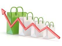 Het winkelen zak stijgende grafiek De groeigrafiek van de verkoop 3d Stock Foto