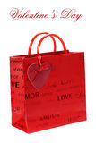 Het winkelen zak voor de Dag van de Valentijnskaart Royalty-vrije Stock Foto
