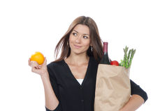 Het winkelen zakhoogtepunt van vegetarische kruidenierswinkels Stock Foto