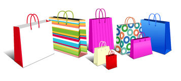 Het winkelen Zakken, de Symbolen van Boodschappentassenpictogrammen Royalty-vrije Stock Foto