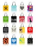 Het winkelen zakken die voor uw ontwerp worden geplaatst Stock Afbeeldingen
