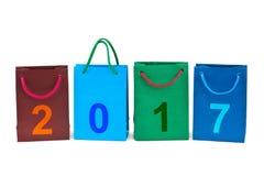 Het winkelen zakken en nummer 2017 Stock Foto