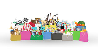 Het winkelen zakken met binnen velen voorwerp royalty-vrije illustratie