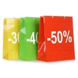 Het winkelen zakken met kortingen of speciale aanbieding tijdens verkoop royalty-vrije stock afbeelding