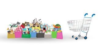 Het winkelen zakken met velen voorwerp binnen met boodschappenwagentje vector illustratie