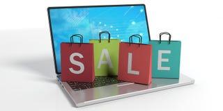 Het winkelen zakken op laptop 3D Illustratie Stock Foto's
