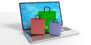 Het winkelen zakken op laptop 3D Illustratie Stock Afbeelding