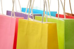 Het winkelen zakkenclose-up Stock Afbeeldingen