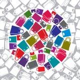 Het winkelen zakkenpictogram met naadloos patroon op achtergrond wordt geplaatst die, vect Royalty-vrije Stock Foto