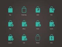 Het winkelen zakpictogrammen. stock illustratie