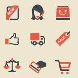 Het winkelen zwarte en rode pictogramreeks Stock Afbeeldingen