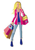 Het winkelende meisje van de manier Royalty-vrije Stock Foto's