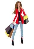 Het winkelende meisje van de manier Stock Foto
