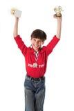Het winnen van de jongen in de concurrentie Royalty-vrije Stock Afbeeldingen