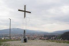 Het wissen van christelijk kruis stock afbeelding